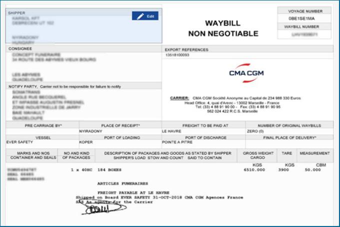 Request to modify waybill online